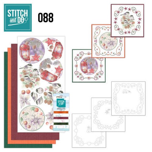 Card Deco - Stitch and Do - Borduurset  88 - Christmas Florals