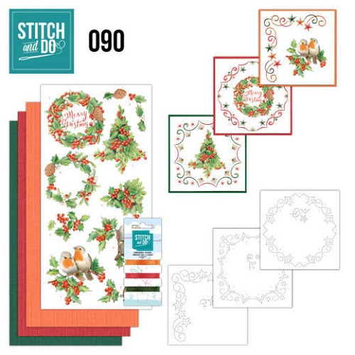Card Deco - Stitch and Do - Borduurset  90 - Merry Christmas