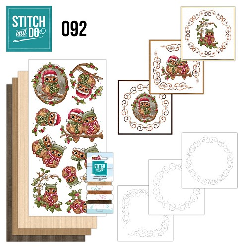 Card Deco - Stitch and Do - Borduurset  92 - Christmas Owls