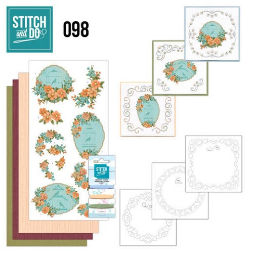 Card Deco - Stitch and Do - Borduurset  98 Floral Birdcages