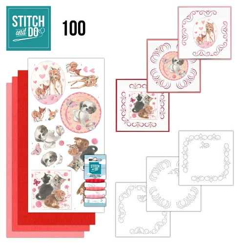 Card Deco - Stitch and Do - Borduurset  100 Playful Pets