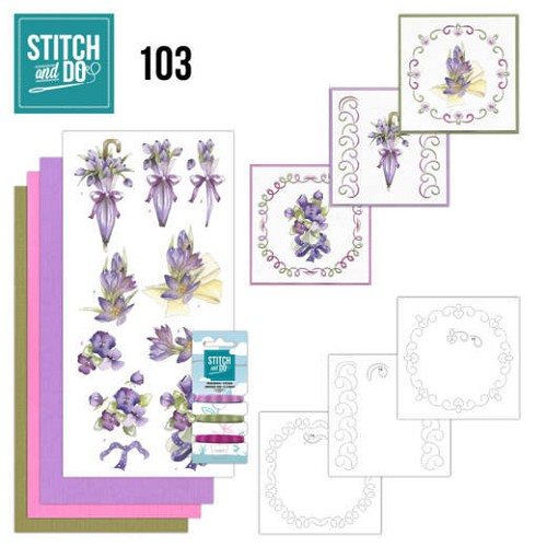 Card Deco - Stitch and Do - Borduurset  103 Flowers in Purple