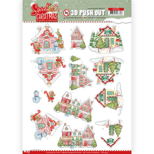 Yvonne Creations - Push Out - Sweet Christmas - Sweet Houses