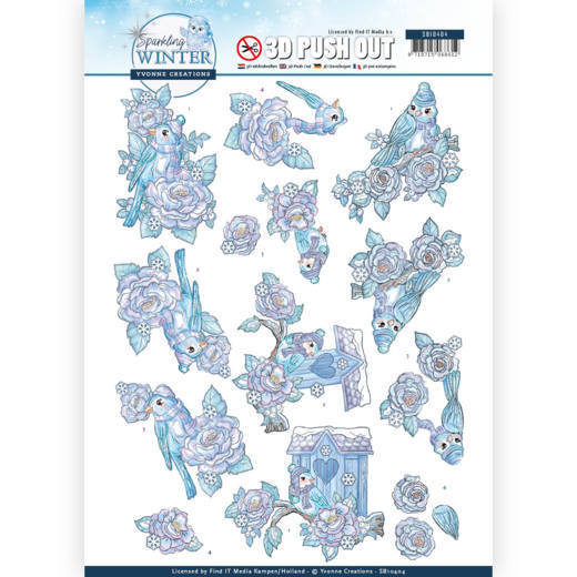 Yvonne Creations - Push Out - Sparkling Winter - Winter Birds
