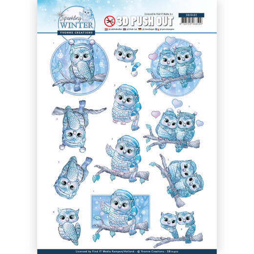 Yvonne Creations - Push Out - Sparkling Winter - Winter Owls