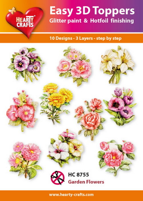 Hearty Crafts - Easy 3D Toppers - Garden Flowers