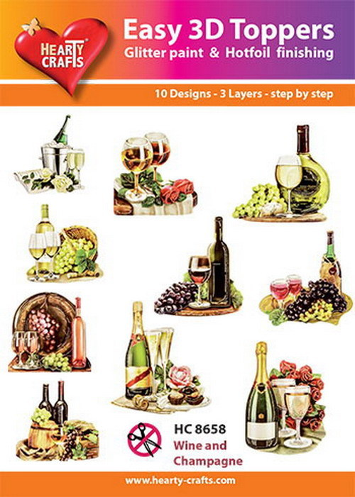 Hearty Crafts - Easy 3D Toppers - Wine and Champagne