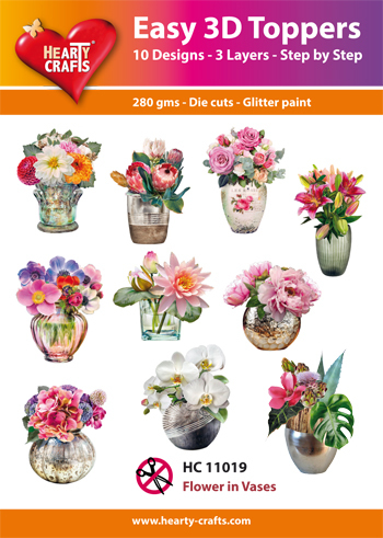 Hearty Crafts - Easy 3D Toppers - Flower in Vases