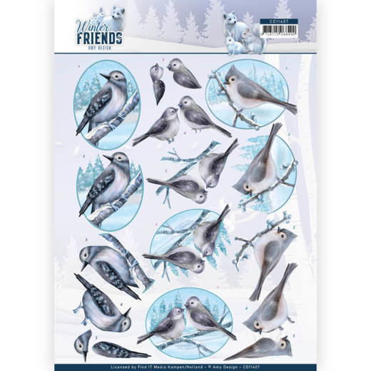 Amy Design - 3D Knipvel - Winter Friends - Sparkling Birds