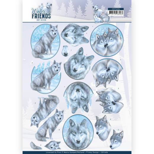 Amy Design - 3D Knipvel - Winter Friends - Winter Wolves
