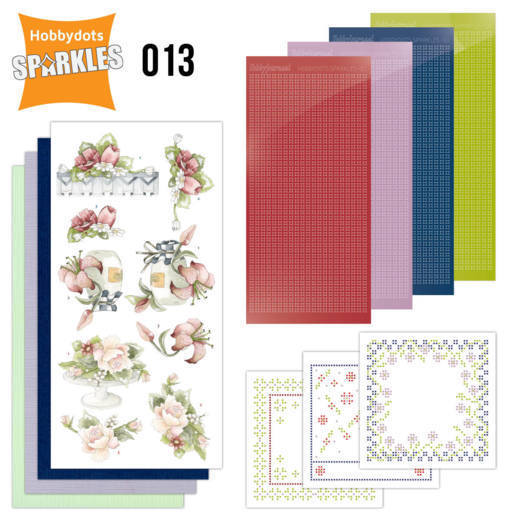 Card Deco - Sparkles - Set 13 - Red Summer Flowers