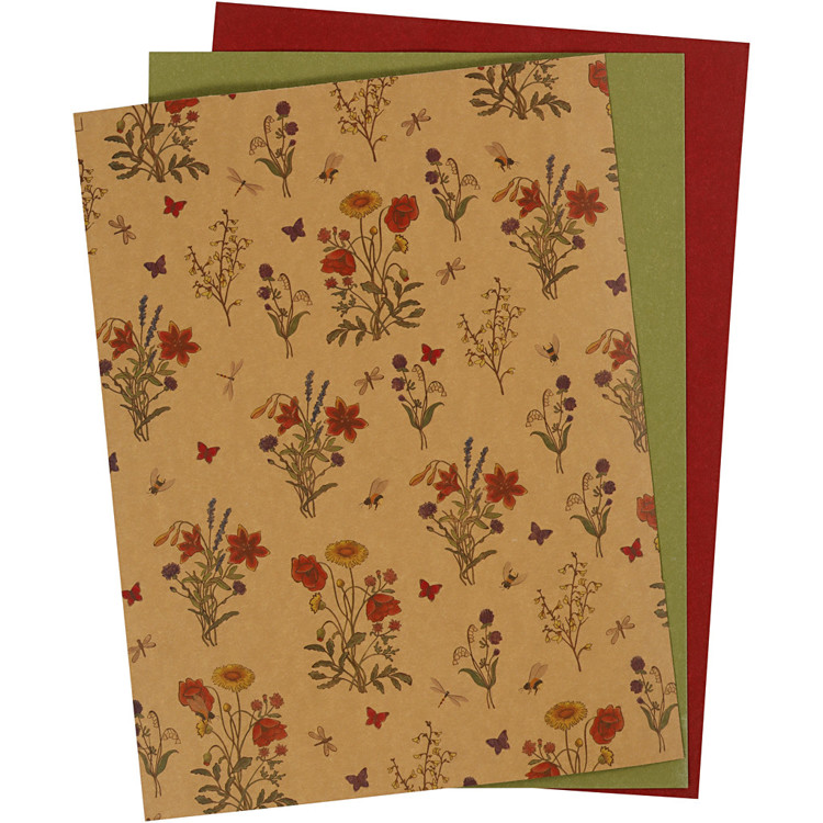 Faux Leather Paper - assorti 3 vel (bloem/groen/rood)