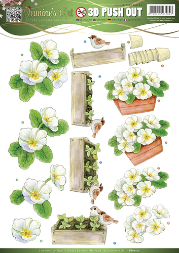Jeanine's Art - Push Out - Garden Classics - White Flowers