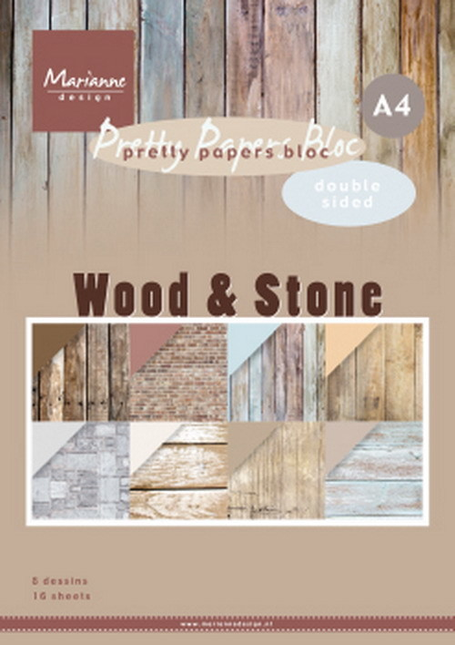 Marianne Design - Pretty Papers Bloc - DZ Wood Stone