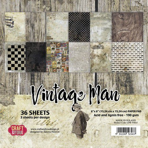 Craft & You Design - Small paper pad 6x6 Vintage Man