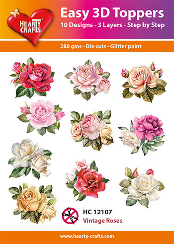 Hearty Crafts - Easy 3D Toppers - Vintage Rose
