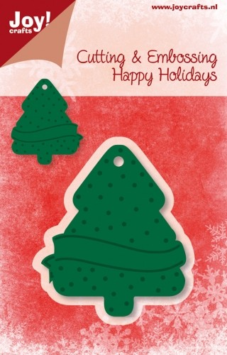 Joy!Crafts - Cutting & Embossing - stencil - Happy Holidays - Hanger Kerstboom