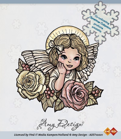 Amy Design - Clearstamp - Angel with roses