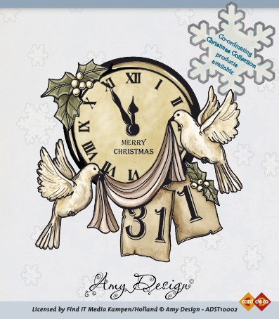 Amy Design - Clearstamp - Clock with doves