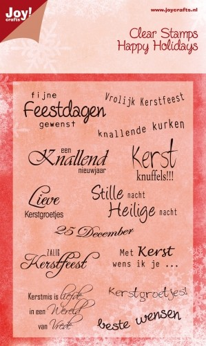 Joy!Crafts - Clear Stamps - Happy Holidays Tekst NL kerst