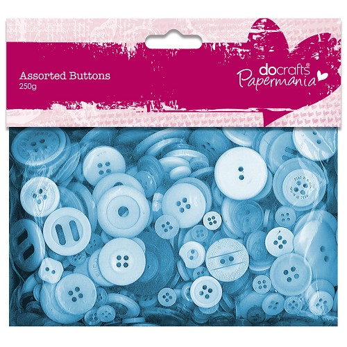 Assorted Buttons (250g) - Blue