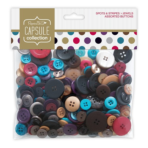 Assorted Buttons (250g) - Capsule - Spots & Stripes Jewels