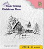 Nellie Snellen - Clearstamp - Christmas time snowy house