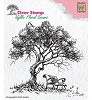 Nellie Snellen - Clearstamp - Idyllic Floral Scene - Tree with Bench