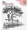 Nellie Snellen - Clearstamp - Idyllic Floral Scene - Tree with Fence
