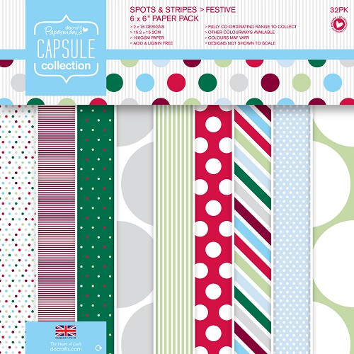 DoCrafts -  Paper Pack - Capsule - Spots & Stripes Festive