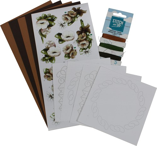 Card Deco - Stitch and Do - Borduurset 1 - Bloemen