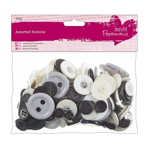 Assorted Buttons (250g) - Monochrome