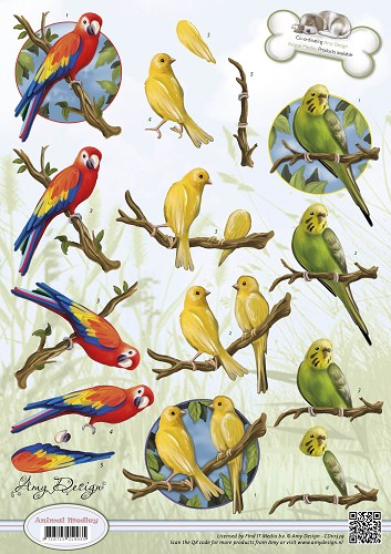 Amy Design - 3D Knipvel - Animal Medley - Tropical Parrots