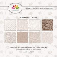 Dixi Craft - Paperpack - Wild flowers - Brown