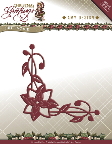 Amy Design - Die - Christmas Greetings - Poinsettia Corner