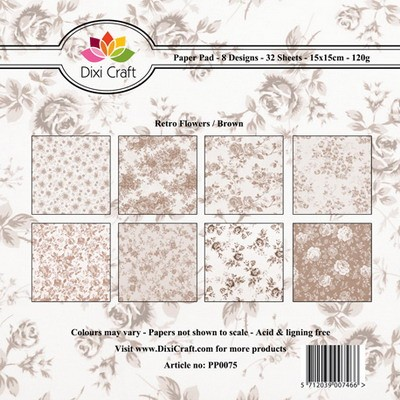 Dixi Craft - Paperpack - Retro flowers brown