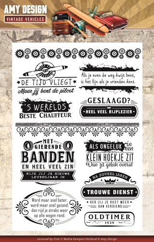 Amy Design - Clearstamp - Vintage Vehicles - Tekst