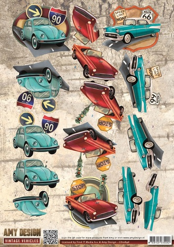 Amy Design - 3D Knipvel - Vintage Vehicles - Cars