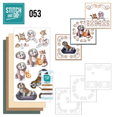Card Deco - Stitch and Do - Borduurset 53 - Huisdieren