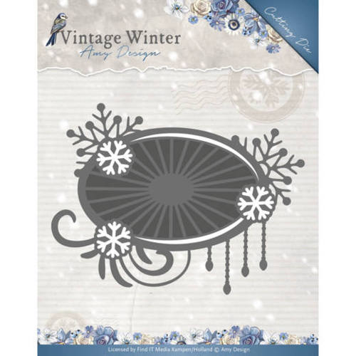 Amy Design - Die - Vintage Winter - Snowflake Swirl Label