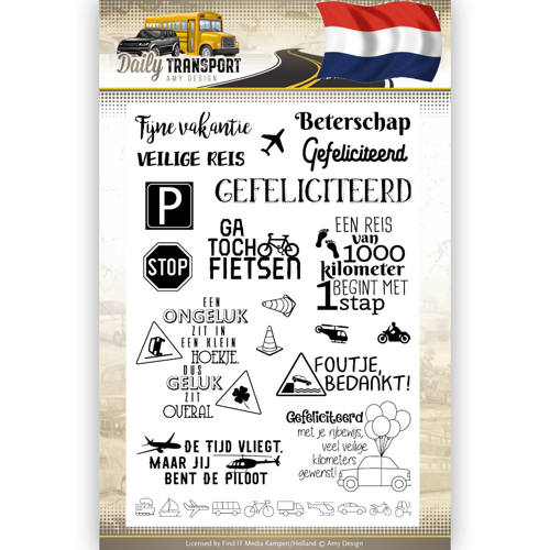 Amy Design - Clearstamp - Daily Transport Nederlands Text