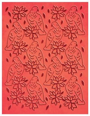 Couture Creations - Embossing folder - A Songbird`s Poinsettia
